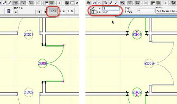 ArchiCAD doors can be anchored at center or corner