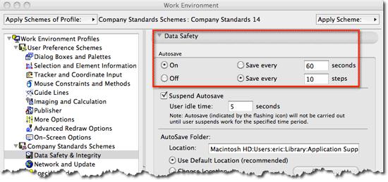 ArchiCAD Autosave settings dialog