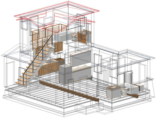 ArchiCAD 3D view with transparent walls