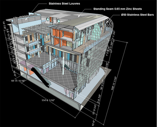 ArchiCAD 3D document window with dimensions