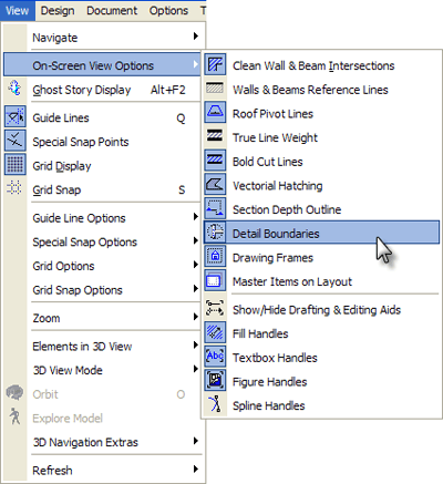 ArchiCAD Tutorials - View menu > Onscreen View Options > Detail Boundaries