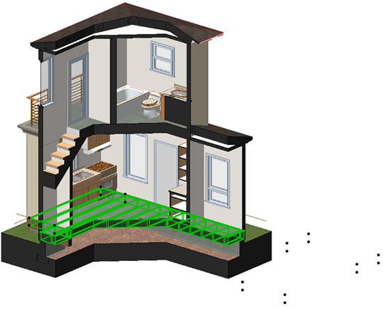 ArchiCAD 3D model viewed with polygonal marquee cutaway