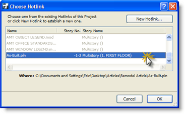ArchiCAD Choose Hotlink dialog box