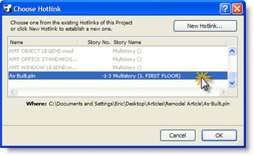 ArchiCAD Choose Hotlink dialog box