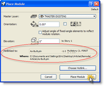 ArchiCAD Tutorial, Click on the Place Module button