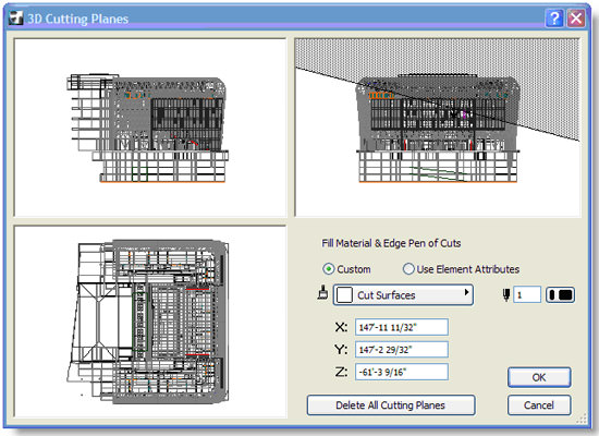 ArchiCAD, 3D Cutting Planes