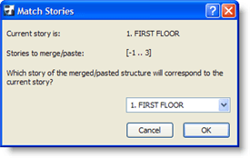 ArchiCAD Match Stories dialog