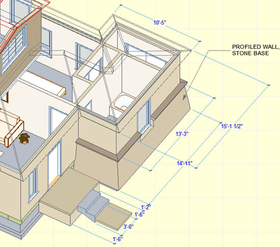 ArchiCAD, 3D document with see-through roofs and dimensions