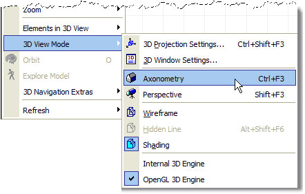 ArchiCAD 3D View Mode menu