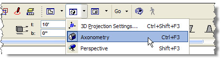 ArchiCAD 3D window viewing styles menu