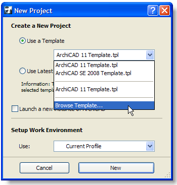 ArchiCAD, Browse Template File