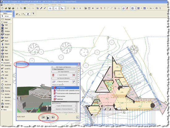 """ArchiCAD - Movie Player window is entitled """"Movie 2/3"""""""