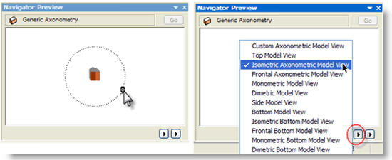 ArchiCAD Navigator Preview with popup menu