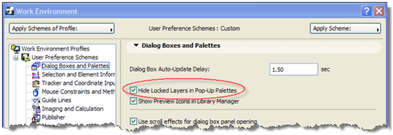 ArchiCAD Options > Work Environment > Dialog Boxes and Palettes,