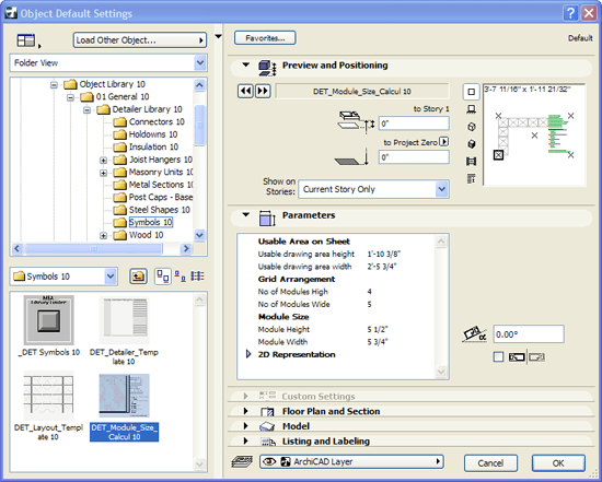 ArchiCAD Master Layout with the Grid