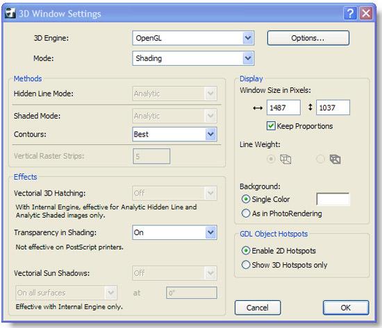 ArchiCAD, 3D Window Settings