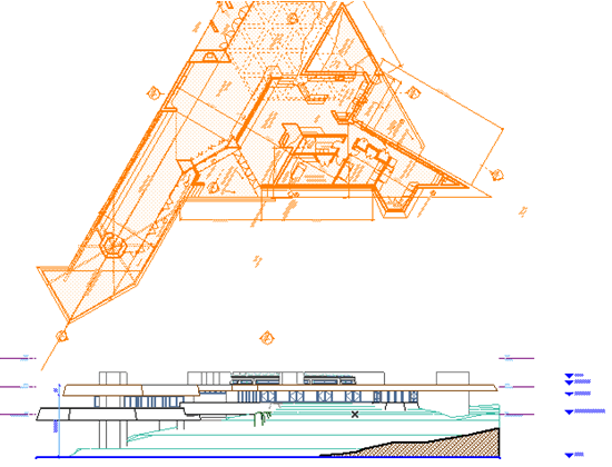 Working on an elevation or section while studying the floor plan