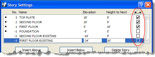 ArchiCAD Tutorial, Show story lines checkbox