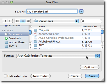 Save Plan as an ArchiCAD Template File