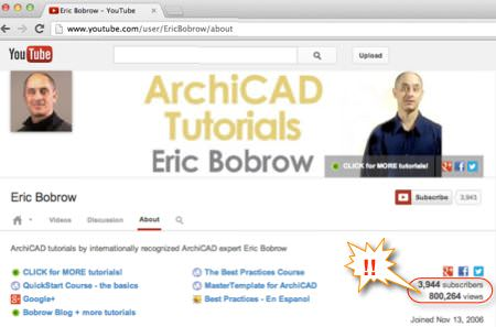 Eric Bobrow's ArchiCAD Tutorials channel on YouTube